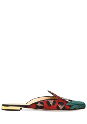 10MM ZEBRA EMBROIDERED CANVAS MULES