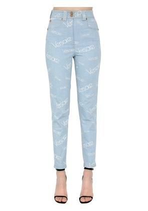 HIGH WAIST PRINTED COTTON DENIM JEANS