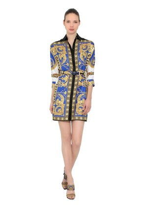 PRINTED SILK TWILL SHIRT DRESS