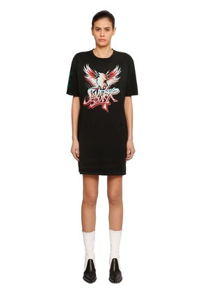 SAVE OUR SOULS PRINT COTTON JERSEY DRESS