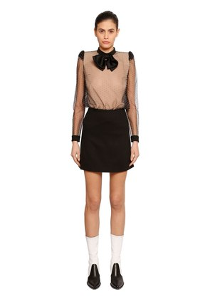STUDDED TULLE & WOOL CREPE DRESS W/ BOW