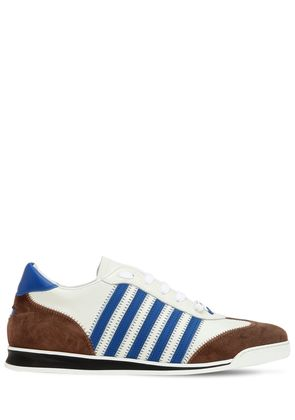 STRIPED LEATHER & SUEDE SNEAKERS