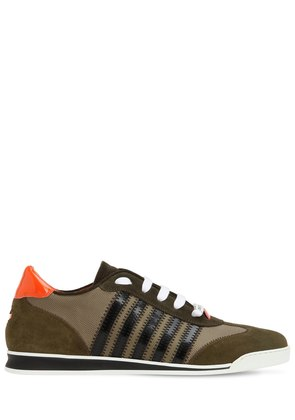 STRIPED NYLON & SUEDE LEATHER SNEAKERS