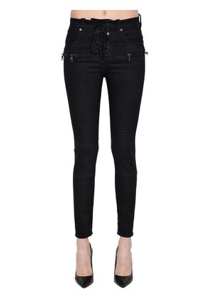 SKINNY LACE-UP COTTON DENIM JEANS