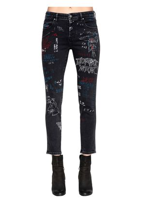 SLIM SKINNY GRAFFITI COTTON DENIM JEANS