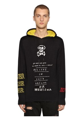 HOODED COTTON JACQUARD KNIT SWEATER