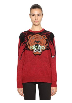 TIGER EMBROIDERED INTARSIA KINT SWEATER