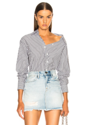 FRAME Aslant Button Up Top in Blue,Stripes
