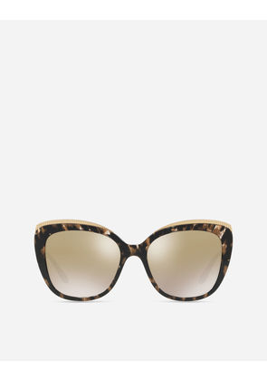 Dolce & Gabbana Sunglasses - CAT-EYE SUNGLASSES WITH GROS GRAIN DECORATION CUBED BLACK AND GOLD