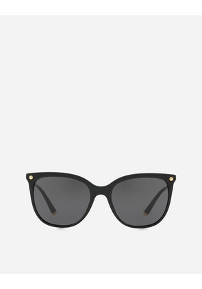 Dolce & Gabbana Sunglasses - CAT-EYE SUNGLASSES IN ACETATE WITH METALLIC DETAILS BLACK