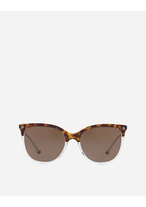 Dolce & Gabbana Sunglasses - CAT-EYE SUNGLASSES IN ACETATE WITH METALLIC DETAILS HAVANA ON CRYSTAL