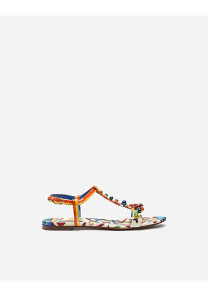 Dolce & Gabbana Sandals and Wedges - SANDAL IN PRINTED PATENT LEATHER WITH EMBROIDERY MULTICOLOR