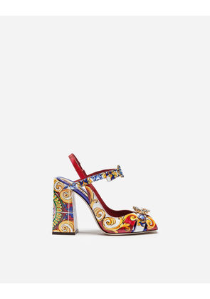 Dolce & Gabbana Sandals and Wedges - SANDAL IN PRINTED PATENT LEATHER WITH JEWEL BUCKLES MULTICOLOR