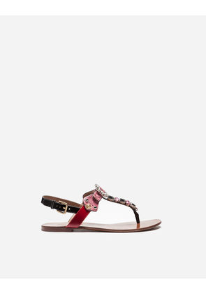 Dolce & Gabbana Sandals and Wedges - THONG SANDAL IN AYERS SNAKESKIN AND PATENT LEATHER WITH EMBROIDERY BLACK