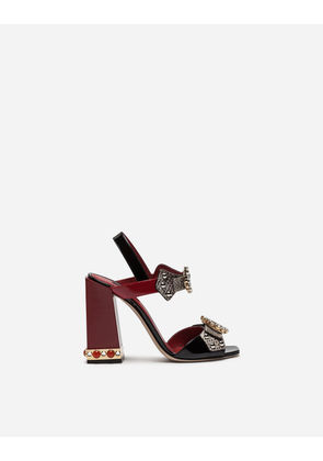 Dolce & Gabbana Sandals and Wedges - SANDAL IN AYERS SNAKESKIN AND PATENT LEATHER WITH APPLIQUÉS AND JEWEL HEEL BLACK
