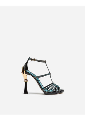 Dolce & Gabbana Sandals and Wedges - SANDAL IN COLOR-CHANGING FABRIC AND PATENT LEATHER WITH SCULPTED HEEL BLUE