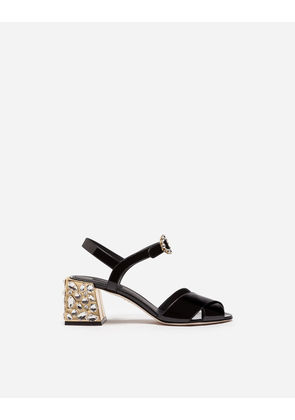 Dolce & Gabbana Sandals and Wedges - PATENT LEATHER SANDAL WITH EMBROIDERY BLACK