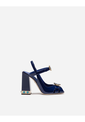 Dolce & Gabbana Sandals and Wedges - SANDAL IN PATENT LEATHER WITH JEWEL HEEL BLUE