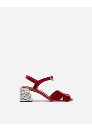 Dolce & Gabbana Sandals and Wedges - PATENT LEATHER SANDAL WITH EMBROIDERY RED