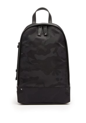 Camouflage cross-body nylon backpack