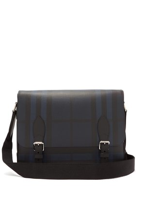 London-check PVC messenger bag