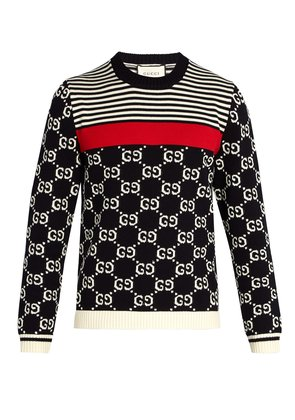 GG-intarsia and stripe crew-neck sweater