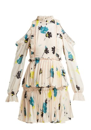Floral-print pleated dress