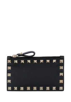 ROCKSTUD LEATHER ZIP CARD HOLDER