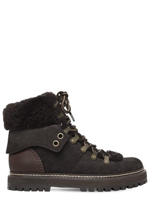 20MM SUEDE & SHEARLING HIKING BOOTS