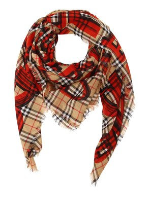 GRAFFITI CHECK PRINT SILK & WOOL SCARF