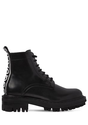 30MM LOGO BRUSHED LEATHER ANKLE BOOTS