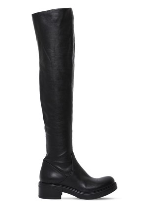 30MM STRETCH LEATHER OVER-THE-KNEE BOOTS