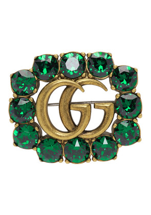 Gucci Green Crystal Marmont Brooch