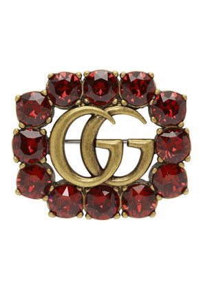 Gucci Red Crystal Marmont Brooch