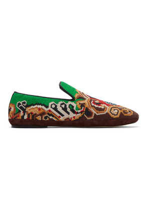 Loewe Brown & Green Embroidered Slip-On Loafers