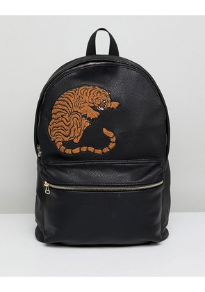 ASOS Backpack In Black Faux Leather With Tiger Embroidery - Black