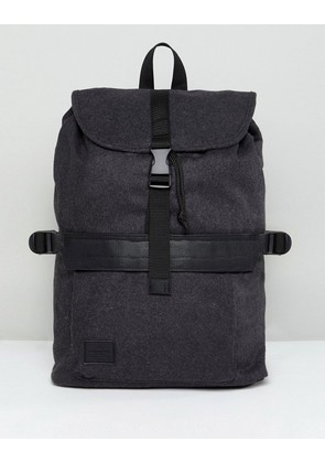ASOS Backpack In Charcoal Melton With Clip Detail - Charcoal