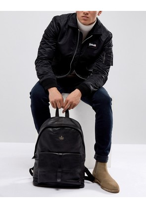 ASOS Backpack With Leather Front Pocket And Embossed Logo - Black