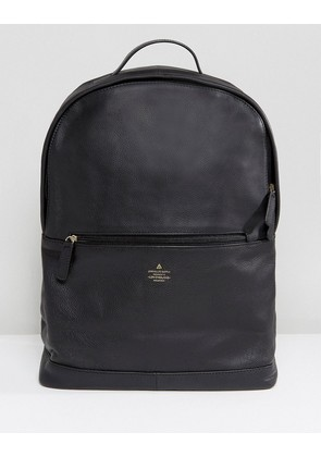 ASOS Backpack In Black Leather With Emboss Detail - Black