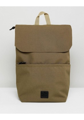 ASOS Fold Top Backpack In Camel With Patch Detail - Camel