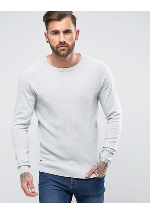 Le Shark Textured Body Jumper With Jersey Raglan Sleeve - Grey