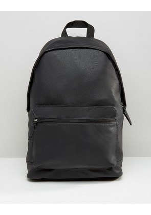 ASOS Backpack In Grain Faux Leather - Black