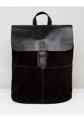 ASOS Backpack In Leather And Suede Mix In Black - Black