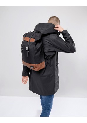 ASOS DESIGN hiker backpack in black with double strap and tan trims - Black