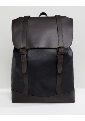 ASOS DESIGN leather backpack in black with double straps in brown - Black
