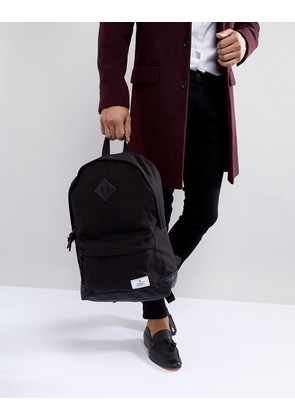 ASOS Backpack In Black Canvas With Faux Leather Base - Black