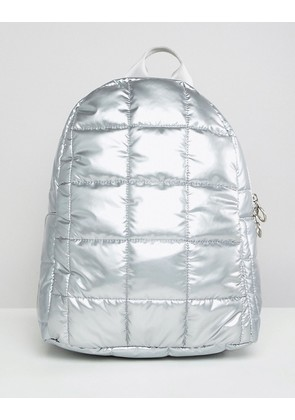 ASOS DESIGN Quilted Metallic Backpack - Silver