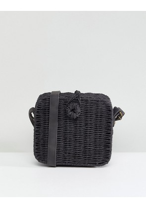 ASOS DESIGN straw square structure basket bag with water based pu strap - Black
