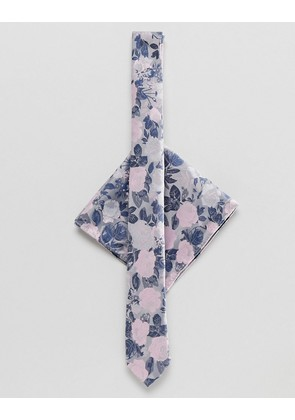 ASOS DESIGN floral tie & pink pocket square - Grey