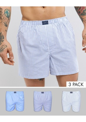 Polo Ralph Lauren 3 Pack Woven Boxers in Stripe/Check/Plain in Blue - Blues